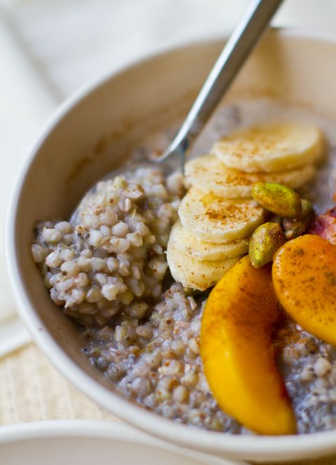buckwheat hot cereal - just eliminate the maple syrup (could substitute Stevia) and use the almond milk.