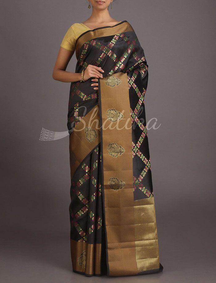 Mona Bold Diamonds Pure Banarasi Tussar Silk Saree