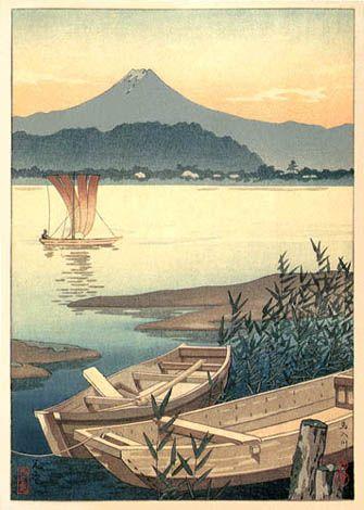 Rowboats on River by Tsuchiya Koitsu