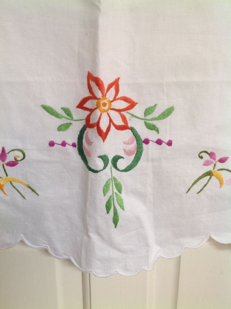 Pillow cases x 2 beautiful colour embroidered flowers in orange emerald green and vibrant pinks standard UK size unused crisp whit cotton by ReworkedHomewares on Etsy
