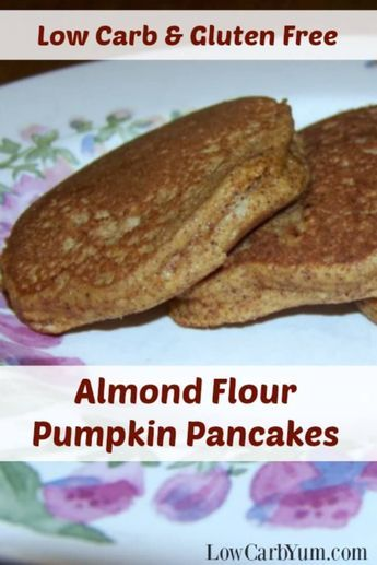 Need a recipe to use up leftover canned pumpkin? These gluten free low carb pumpkin pancakes made with almond flour are a nice breakfast treat. | http://LowCarbYum.com via /lowcarbyum/