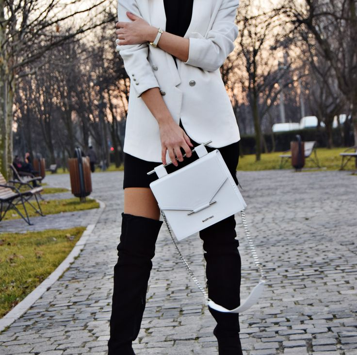 White leather bag.