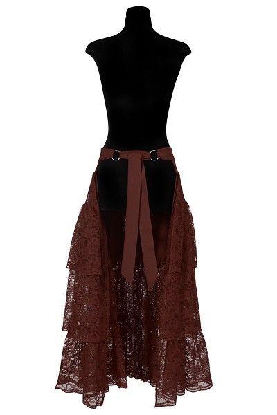 8768e2658d1 Lange bruine petticoat kant of omslag rok is echt geweldig in combinatie  met een kort carnaval