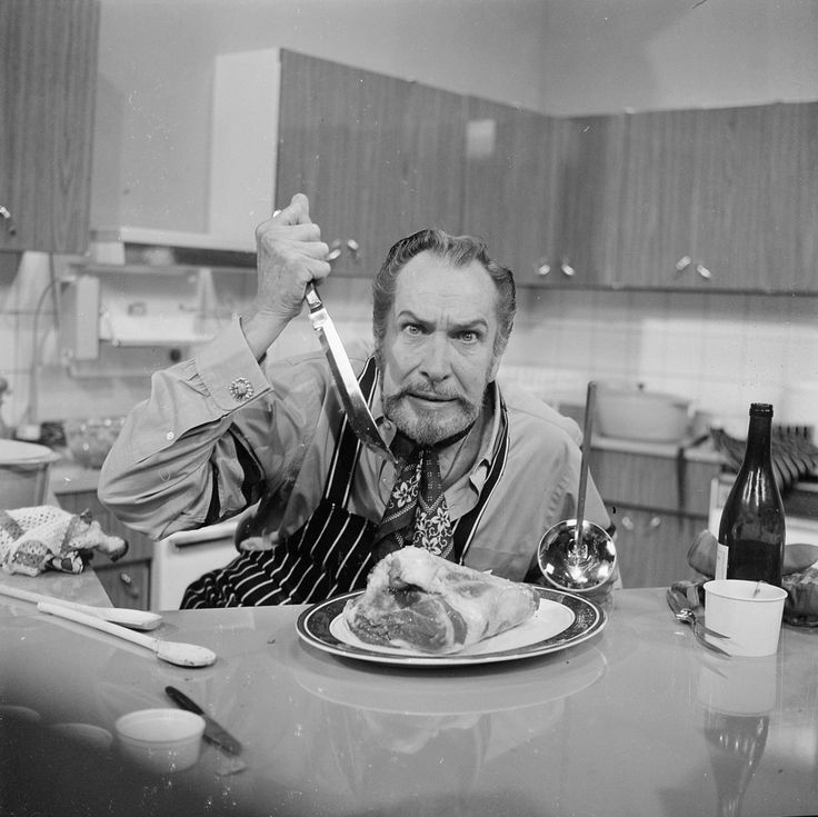 Old photos of celebrities eating, my favorite is Vincent Price murdering a piece of meat.