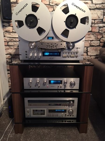 Walnut-STAX-300-HiFi-Stand,-with-Pioneer-Reel-2-Reel-&-Separates