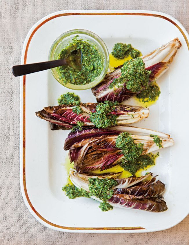 // Pan-Grilled Radicchio + Salsa Verde