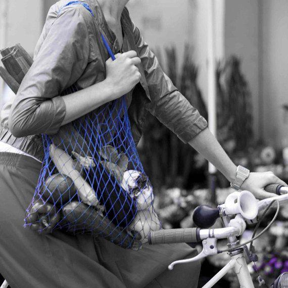 Eko shopping bag-Blue Vintage bag Avoska String-bag Fashionable handy bag Retro