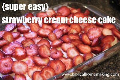 strawberry cream cheese angel food cake {recipe}