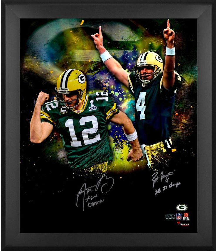 Autographed Aaron Rodgers Brett Favre Nfl Gb Packers Framed 20x24