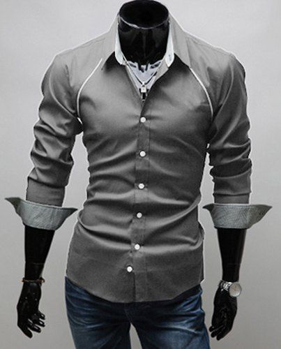 $8.89 Korean Style Turn-down Collar Solid Color False Raglan and Checked Embellished Long Sleeves Polyester Shirt For Men