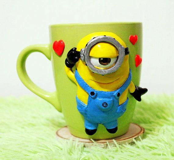 minion mug with polymer clay decorative mug   hand made mug gift
