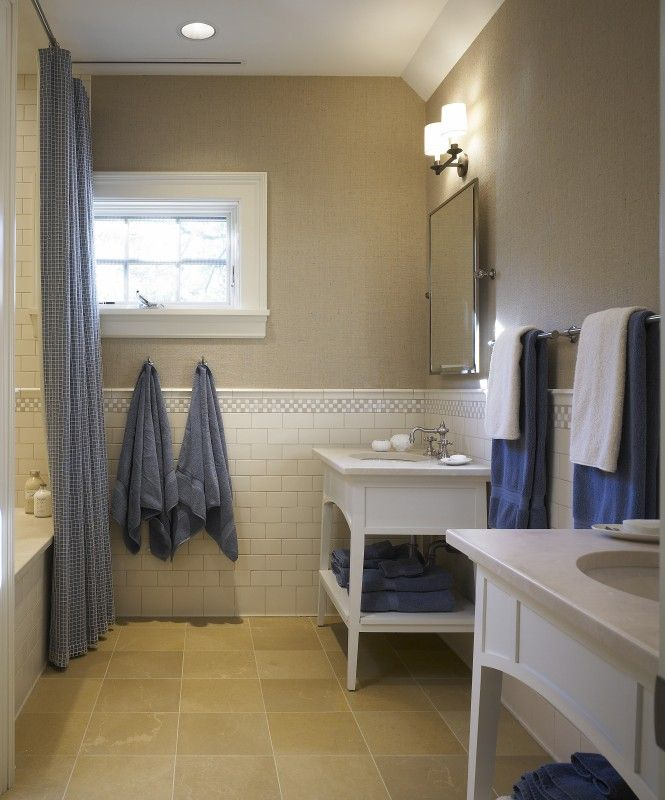 Beige Floors Subway Tile With Mosaic At Chair Rail Use Calcutta White Vanity