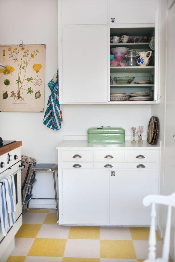 Jessica Silversaga, interior, home, small kitchen, tiled floor, vintage print, poster, white, retro