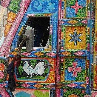 art on the door of an Indian truck