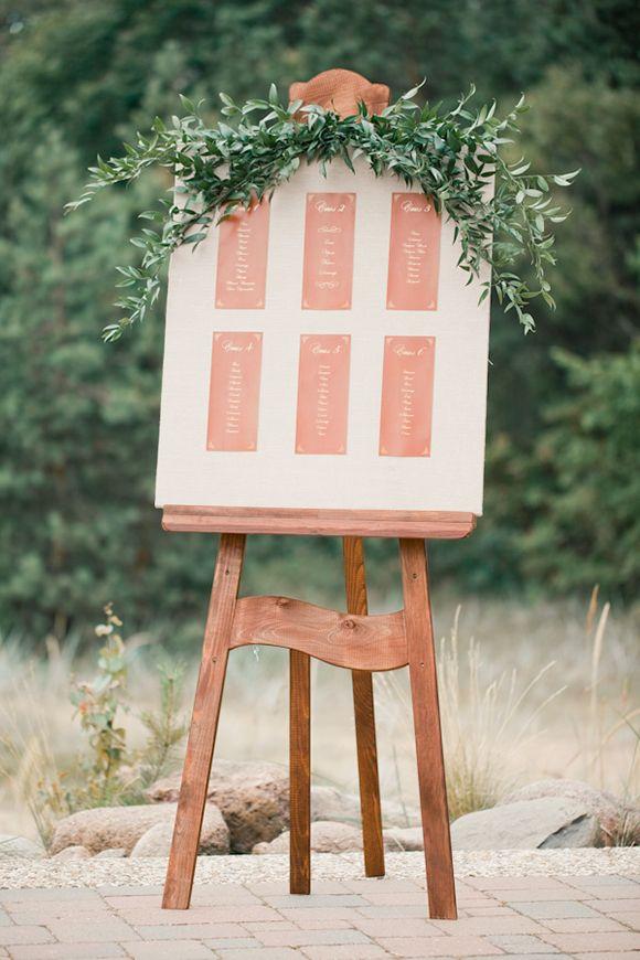 greenery + seating assignments board   Earthy Inspiration Shoot by Anastasiya Belik
