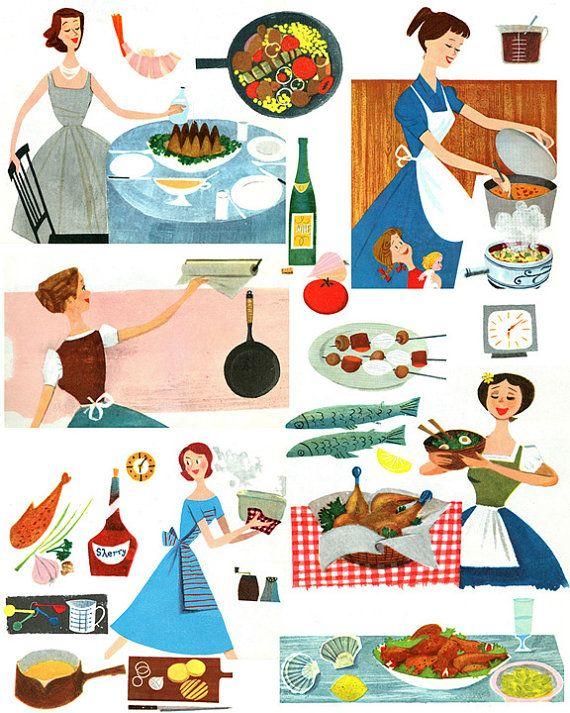 Fabulous Vintage 1950s Mid Century Cookbook Graphics Main Meals  Digital Collage Sheet D137