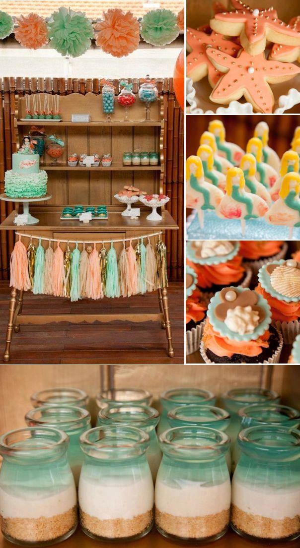 Mermaid ocean under the sea girl birthday party via Kara's Party Ideas KarasPartyIdeas.com #mermaid #sea #under #ocean #party #theme #girl #cake #cupcakes #supplies #idea