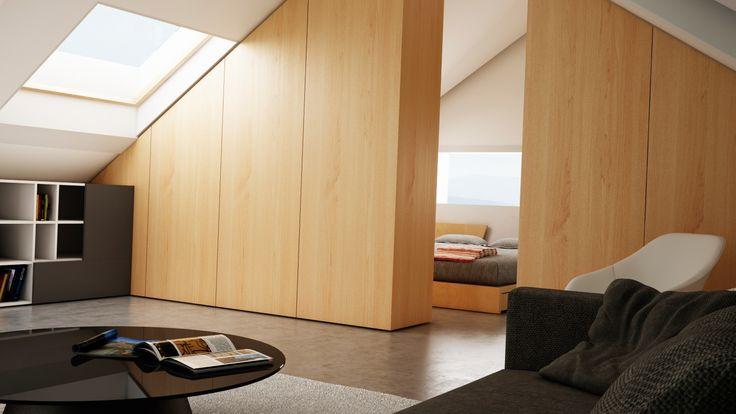Ático Cangas / equipoeme estudio #urban #design #interiorismo #equipoeme #bajocubierta #renders #salon #diseño #dormitorio