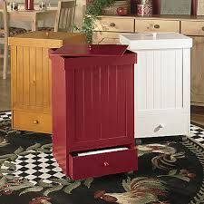 Wooden Kitchen Trash Can   On Wheels To Help While Cooking!