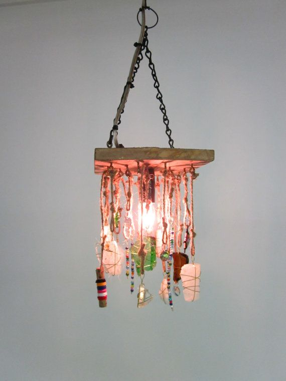 Hanging Found Object Boho Lamp by CharestStudios on Etsy, $99.00