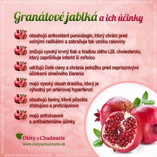 Granátové jablko a jeho účinky http://www.dietyachudnutie.sk/encyklopedia/ovocie/granatove-jablko/