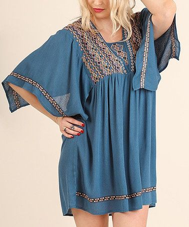 Look what I found on #zulily! Slate Embroidered Cape-Sleeve Dress Plus #zulilyfinds