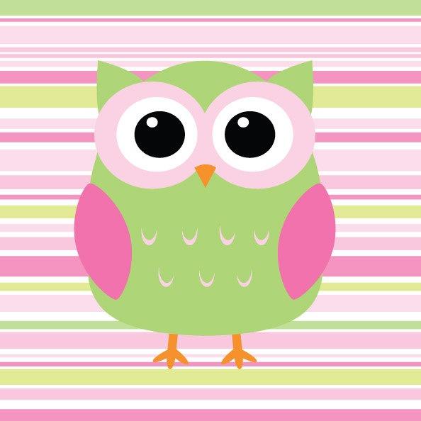 Owl Pink And Green Stripe Nursery Print