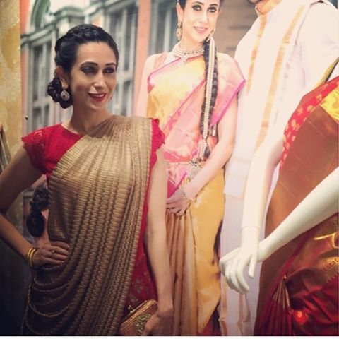 Gold frill saree with red border To purchase mail us at houseof2@live.com or wha…