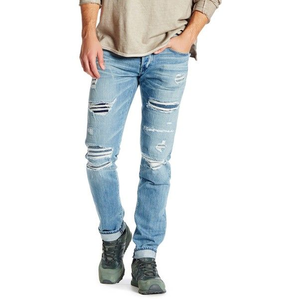 3x1 NYC Low Rise Slim Jean ($160) ❤ liked on Polyvore featuring men's fashion, men's clothing, men's jeans, montecristo, mens slim jeans, mens slim fit jeans, mens distressed jeans, mens destroyed jeans and mens low rise jeans
