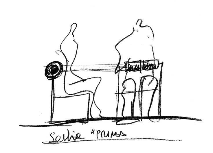 "Mario Botta. Schizzo della sedia ""prima"" http://w""ww.aliasdesign.it/worlds/14/botta/  Mario Botta. Sketch of chair ""prima"""
