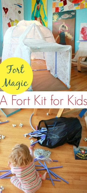 This fort kit combines the construction fun of building blocks with the walk-in size of a playhouse! So much fun!
