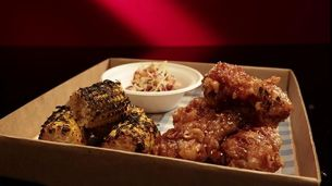 Korean Fried Chicken with Miso Corn and Cabbage Salad