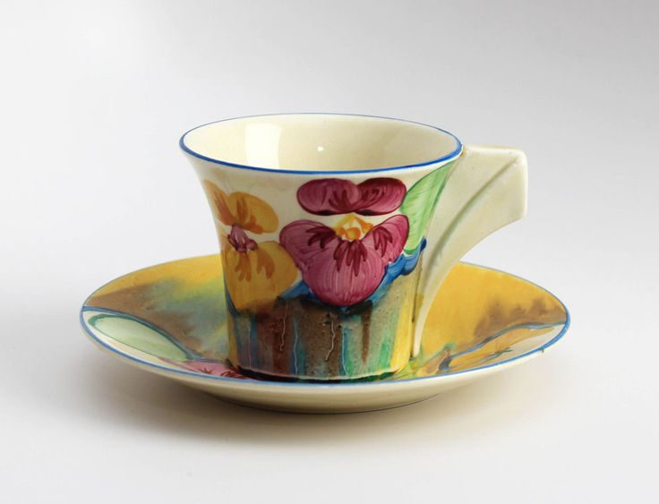 Clarice Cliff Delecia Pansy Cup and Saucer, Excellent Condition!