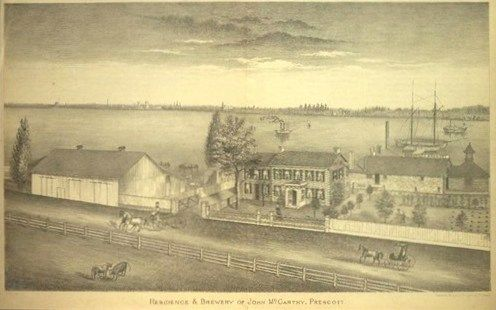 This is a painting of the home of John McCarthy, Prescott, Grenville, Ontario, Canada.  The Grenville Brewery is in the background of the painting.