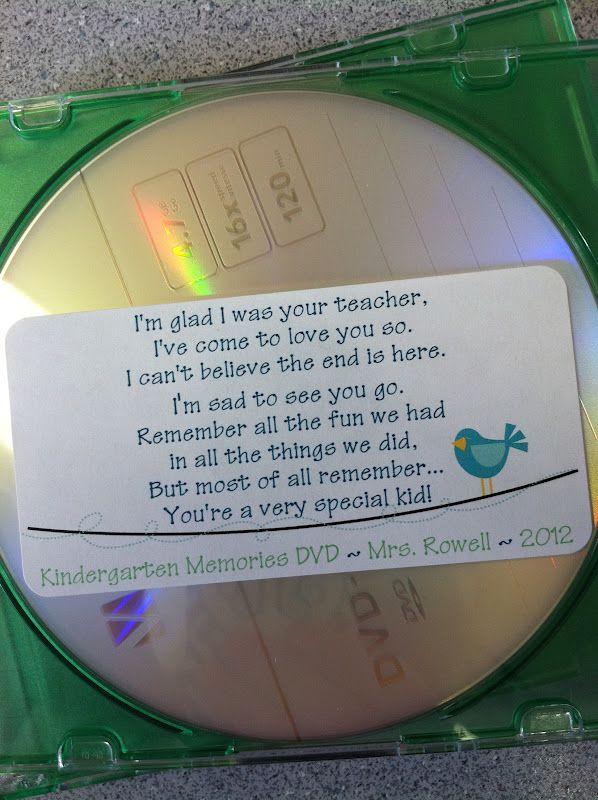 Dit is dan wel een Engels voorbeeld, maar aan het einde van ieder schooljaar gaf ik de kids van mijn groep een cd-tje met foto's en liedjes van het afgelopen jaar er op mee als aandenken. Leuke foto van de groep als cd-hoesje en een leuke tekst erin. Succes verzekerd!