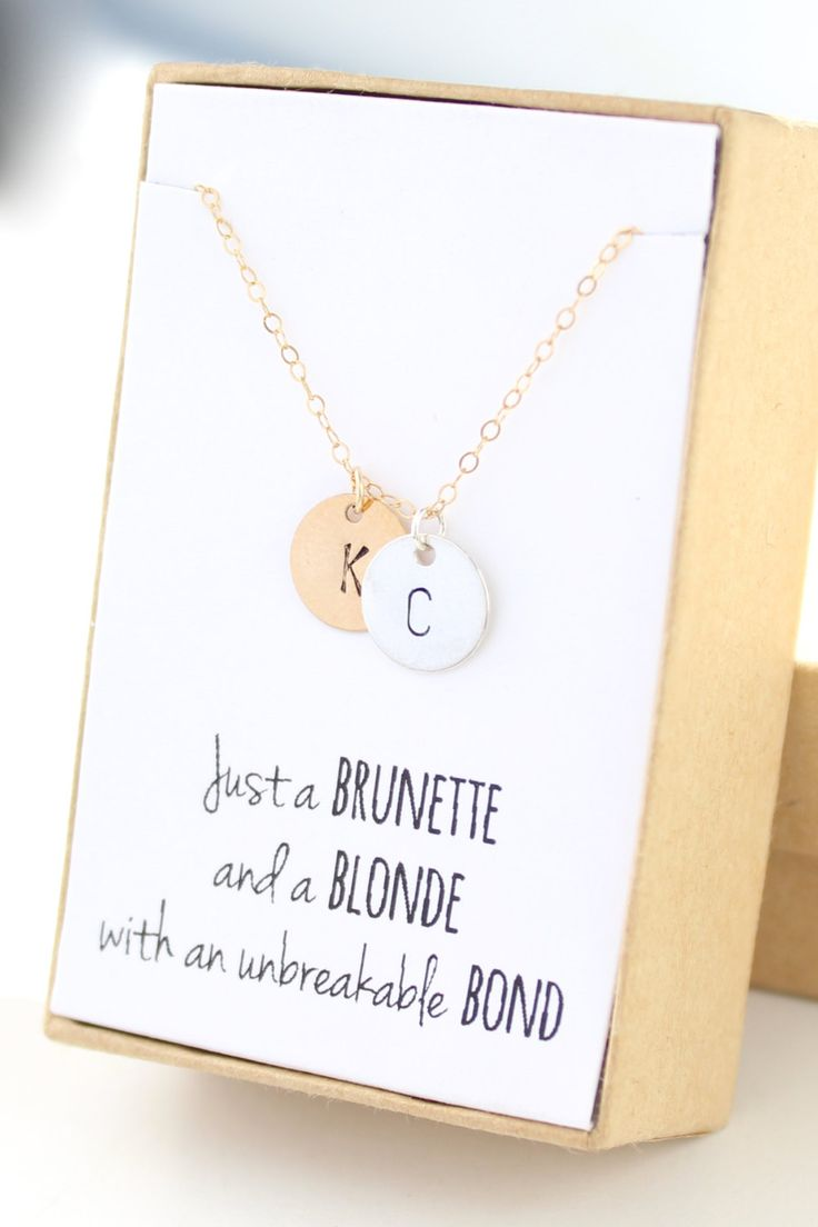 Two Monograms Disc Necklace - Initial Necklace - Friendship Necklace - Gold Personalized Necklace - Gifts For Friends -Initial Necklace by powderandjade on Etsy https://www.etsy.com/listing/210552373/two-monograms-disc-necklace-initial
