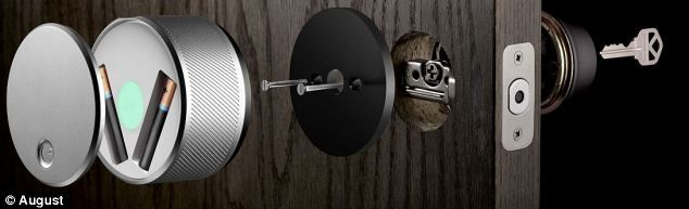 The August lock is a keyless entry system that can be fitted to existing door locks in 10 minutes. It runs on AA batteries and works using Bluetooth.