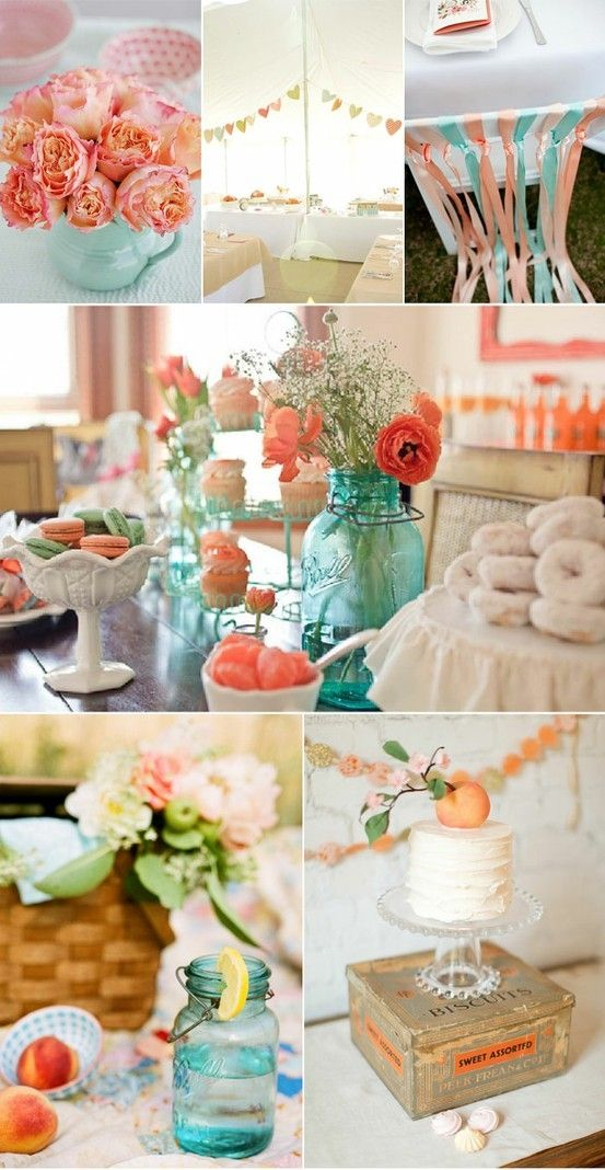 Aqua mason jars with coral colored flowers is gorgeous by flora