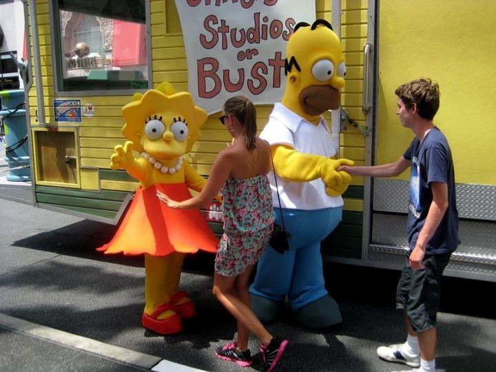 The Simpsons, Homer & Lisa.  Universal Studios Orlando, Florida.  USA