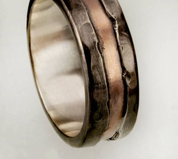 Wedding Band, Unique Mens ring, Mens Engagement Ring, Mens Promise ring, Engraved Personalized Mens wedding Band, RS-1191 A dual tone ring that is as striking as it is symbolic makes this silver copper piece the ultimate gift for him. The handcrafted textured details and exclusive black #menweddingrings #weddingring
