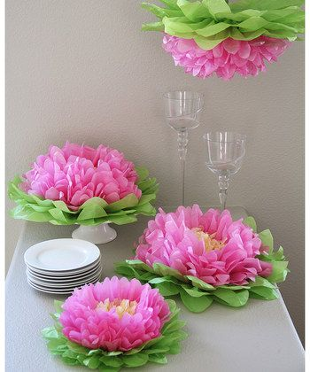 Light Pink Flower Pom Set | Daily deals for moms, babies and kids