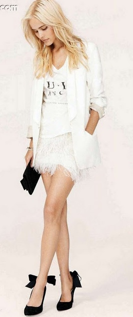 Bebe white ostrich feather skirt. 2012