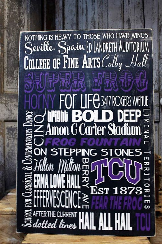 College Subway Canvas Wall Art TCU College Subway Art Sign on
