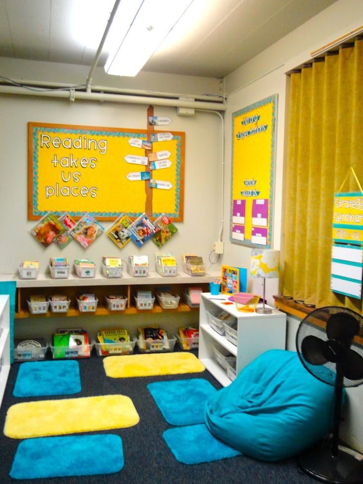 Using individual bath mats to establish personal reading spaces in a classroom library. Love this idea if you have enough room.
