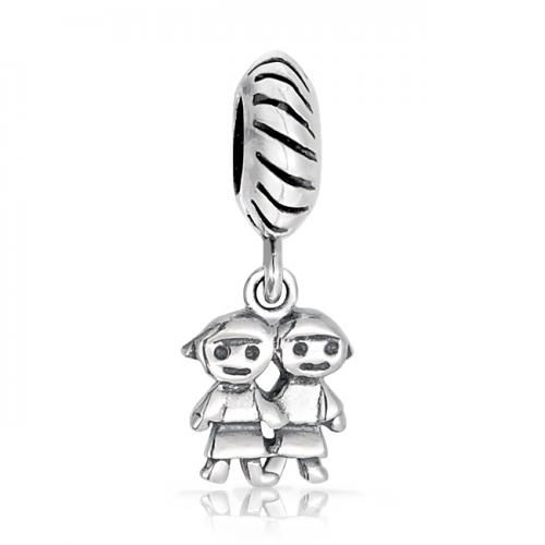 Sisters Family Dangle Charm Twist Bead 925 Silver Pandora Compatible