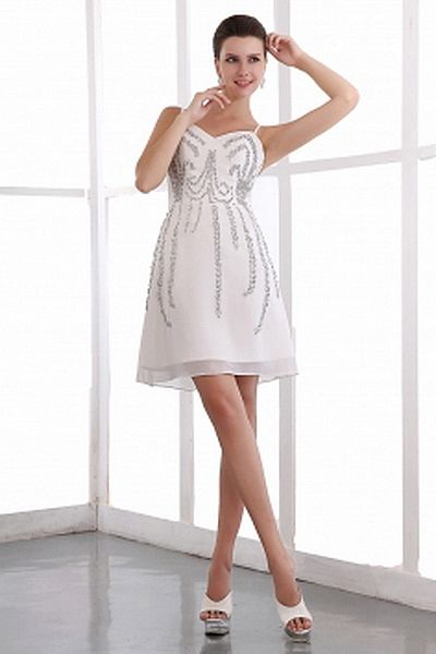 White Chiffon Spaghetti Strap Formal Dresses - Order Link: http://www.theweddingdresses.com/white-chiffon-spaghetti-strap-formal-dresses-twdn0895.html - Embellishments: Beading; Length: Short; Fabric: Chiffon; Waist: Natural - Price: 148.7USD