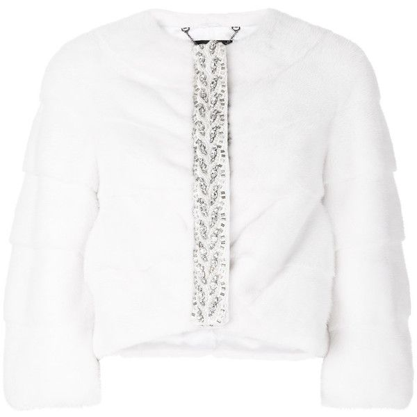 Cara Mila panelled cropped rhinestone embellished jacket ($3,231) ❤ liked on Polyvore featuring outerwear, jackets, white, mink jacket, white mink jacket, cropped jacket, white cropped jacket and mink fur jacket
