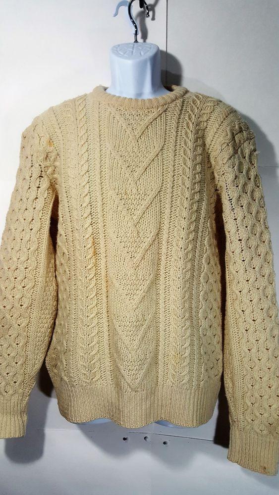 Vintage Pendleton 100% Virgin Wool men's Sweater size large Ivory Cable Knit #Pendleton #Crewneck