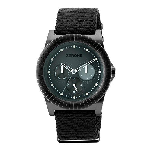 "Black Multi-function Analogue Watch: ""RRRapid"" ($110) by Zerone. Day,Date, and Calendar display on the dial. #Classy #RewardYourself #Watch #Zerone"