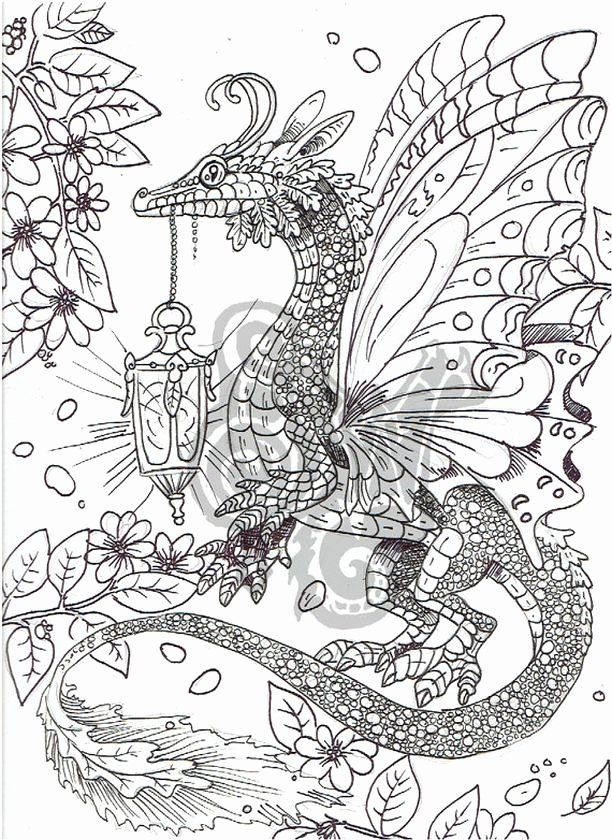21 Dragon Adult Coloring Book In 2020 Dragon Coloring Page